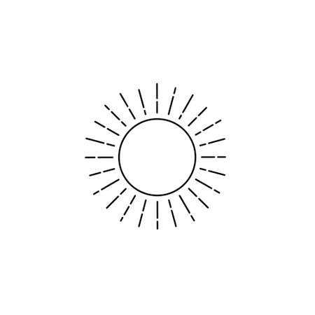 Linear sun, Retro Sun Ray, Sun Burst Emblem, Sunshine Sunburst, Isolated Vector Illustration Иллюстрация