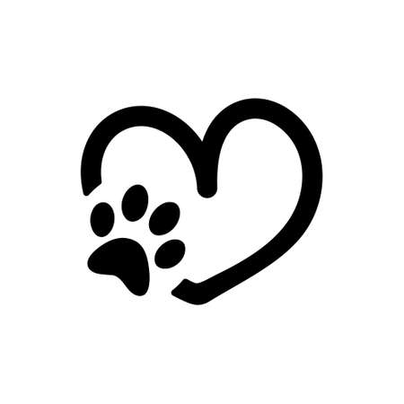 Animal love symbol paw print with heart, isolated vector Иллюстрация