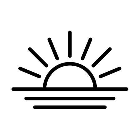 Sunset icon, sunrise icon. Sunburst, Sun and Ocean Icon. Иллюстрация