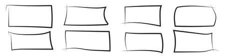 Set of hand drawn rectangle. Text box and frames. Vector illustration. Иллюстрация