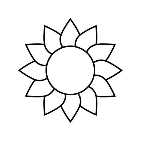 Sunflower line icon concept. Sunflower flat vector sign, symbol, illustration. Иллюстрация