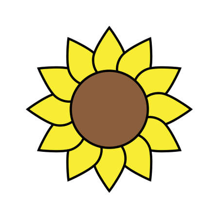 Sunflower icon, Yellow sunflower in flat style vector isolated