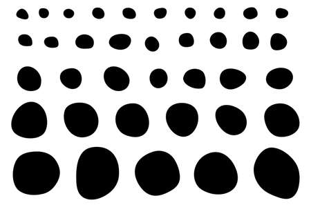 Set of Imperfect Doodle Circle Shapes. Black silhouettes of imperfect circles.
