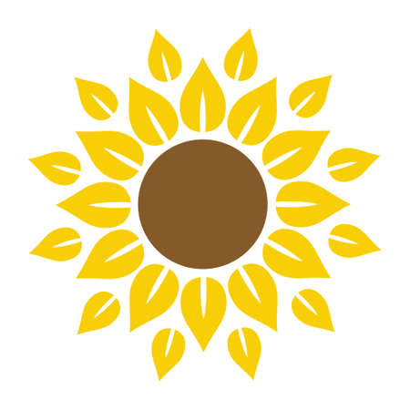 Sunflower icon in flat style vector isolated, leaf botany ecology template.