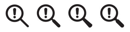 Business Risk Analysis symbol with magnifying glass icon and exclamation mark. Magnifying glass icon and alert, error, alarm, danger symbol.