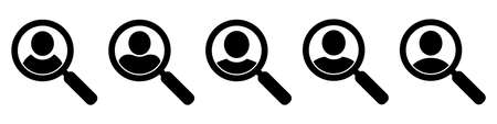 Magnifying glass looking for people icon. employee search symbol concept, headhunting, staff selection, vector illustration.