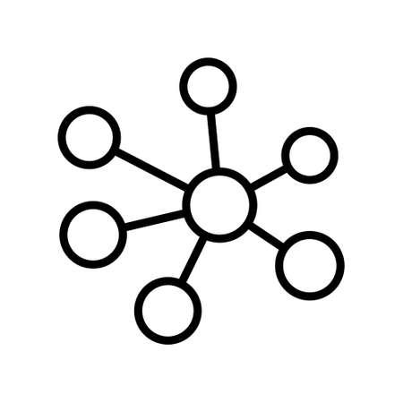 Hub network connection icon, minimal flat line icon.