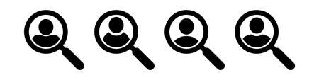 Magnifying glass looking for people icon, employee search symbol concept, headhunting, staff selection, vector illustration. Job search icon. Иллюстрация
