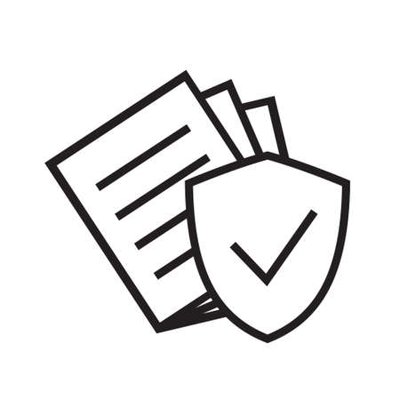 Secure document icon. Vector illustration isolated. Simple pictogram for graphic and web design.