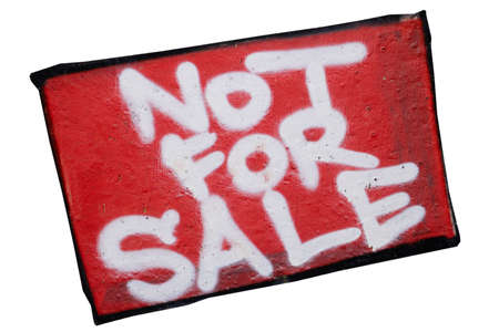 no integrity: Inscription on a concrete wall - not for sale, isolated Stock Photo