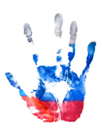 The fingerprint of the right hand of the Russian Federation flag colors