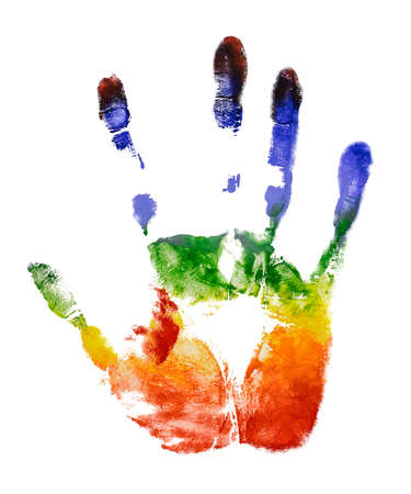 Rainbow colorful right hand print isolate on white background Stock Photo