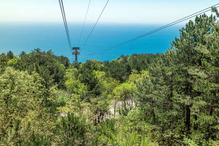Funicular to the Ai-Petri mountain, the view from the booth down to the sea and the Crimean nature Stock Photo