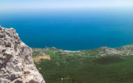 The view from the top of mount Ai-Petri rocks, blue sea and clear sky Stock Photo