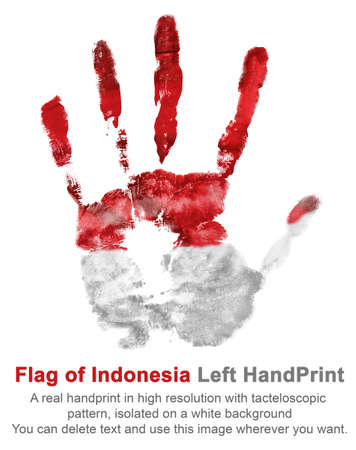 Colorful left hand print of gouache in color of national flag of Indonesia