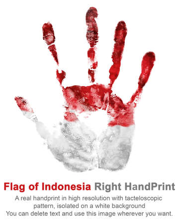 Handprint right palm in red and white color. Imprint right arm in color of national flag of Indonesia