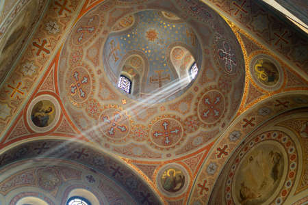 The Church of Christs Resurrection inside. A ray of light gently penetrating the temple. Editorial