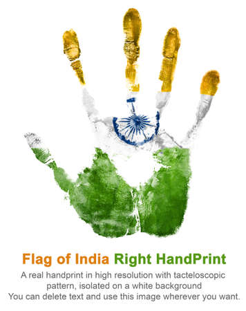 Right handprint gouache in national indian colors of state flag