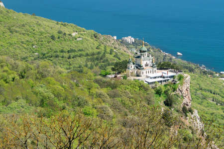 The Church of Christs Resurrection on rock in Crimea  over the settlement of Foros, View from Baidarskie Gates