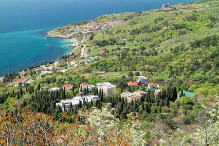 View of the resort village Katsively and the Black Sea from the mountain-cat. Yalta, Foros. Stock Photo
