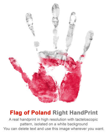 Right hand print in poland flag colors on white isolated background