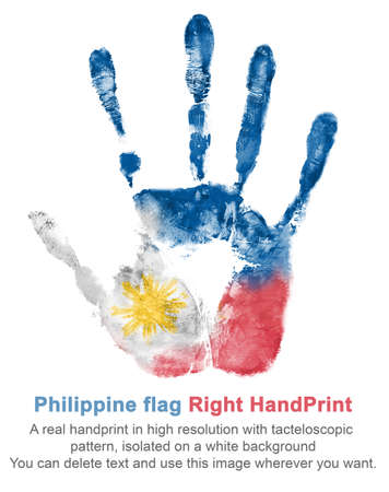 Hand print of the right hand in the colors of the flag of Philippines, red-blue-white flag with yellow sun - symbol of folk and national holidays.