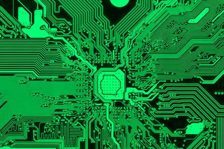 Green printed circuit board, modern PCB design background