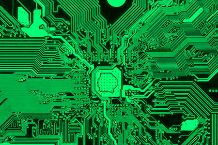 Green printed circuit board, modern PCB design background