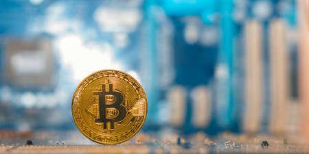 Mining btc currency, digital money, bitcoin. Foto de archivo