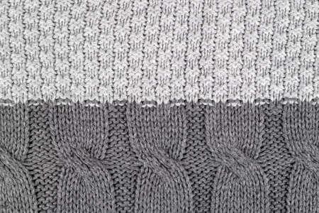 Pattern by gray knitting wool yarn texture, kraft handmade