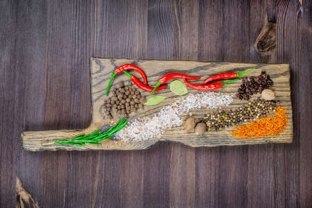 Oriental spices on the cutting board, bright and savory.