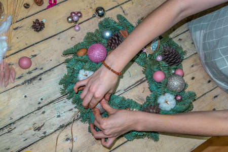 Christmas wreath decoration, top view.