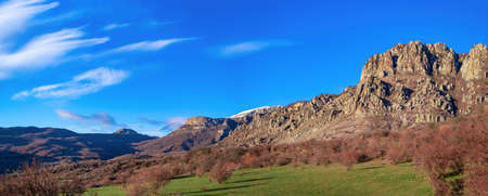 Demerdzhi Mountains, panorama of the valley of ghosts near Demerji Foto de archivo