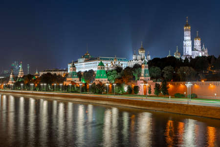 Kremlin embankment and wall in Moscow city by night.