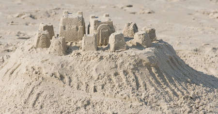 Sand village created by tourists. Stock Photo