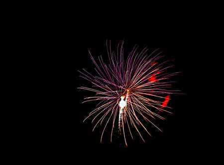 Fireworks display.  Statue of liberty shape in the middle of the burst.