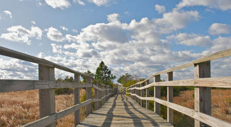 Wooden bridge and rails.  A pathway leading to the beach. Stock Photo