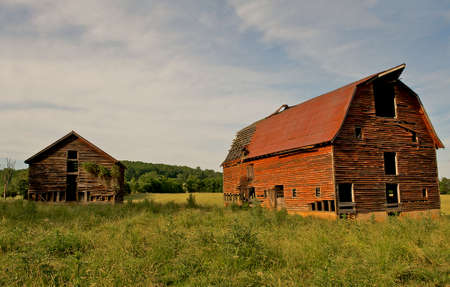 desertion: Abandoned old barns surrounded by beautiful blue sky.  Decaying wooden structures show weathering from desertion. Stock Photo