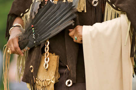 regalia: Native American regalia of leather and feathers. Stock Photo