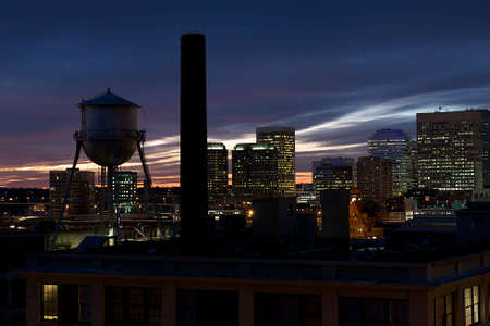 Cityscape of Richmond, Virginia at night during sunset.  Image taken from Church Hill.