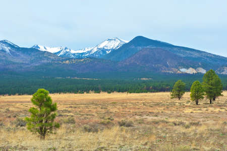 Landscape image of snow capped mountains taken at Sunset Crater National Park in Arizona.