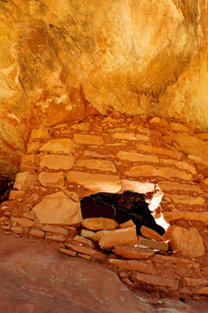 House on Fire, famous Anasazi ruins in Mule Canyon, Utah.   Stock Photo