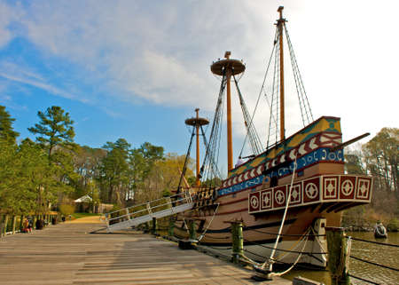 JAMESTOWN, VIRGINIAUSA - MARCH 18, 2012:  Replica of the Susan Constant, one of three ships that brought English colonists to Virginia in 1607 on display during the Military through the Ages event on March 18, 2012 at the Jamestown Settlement.