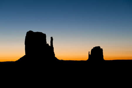 Silhouette of the Monument Valley Mittens. Stock Photo