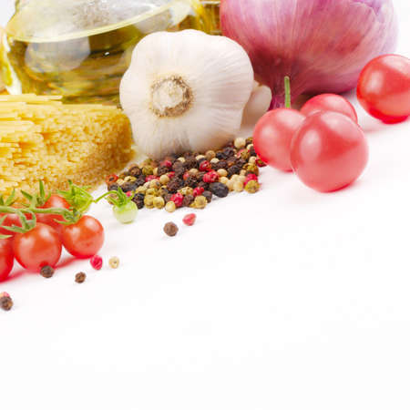 Food ingredients on the white background