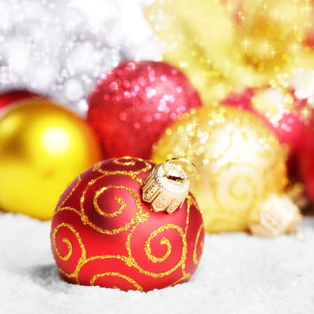 Christmas tree decorations over silver background photo
