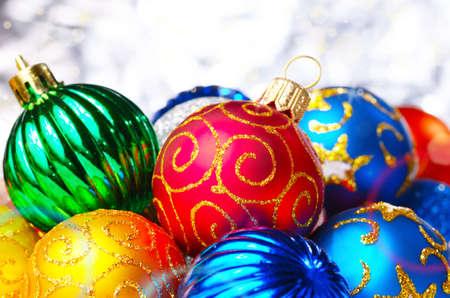 Different color Christmas decorative balls background photo