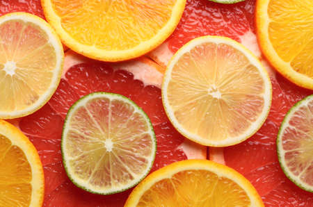lime, lemon, grapefruit and orange slices closeup photo
