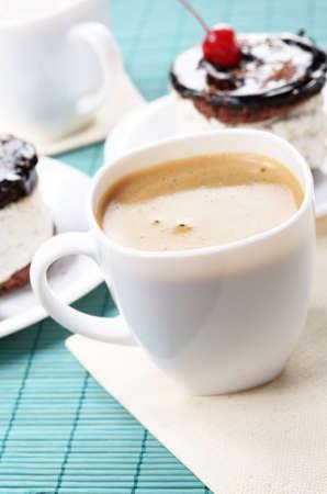 Homemade  cream cherry cake and coffee cup Stock Photo - 11770960