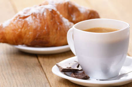 Morning cappuccino coffee with croissant